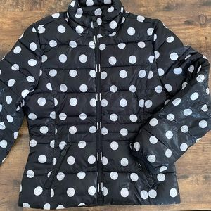 Justice Puffer Coat Polka Dots Black White Size 10